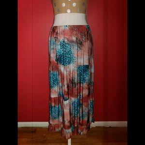 Magic Multi Printed Tiered Maxi Skirt